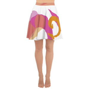 Eatsalt pink and orange on white swirl design Beach Skirt (front)