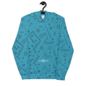 light blue patterned hoodie - front