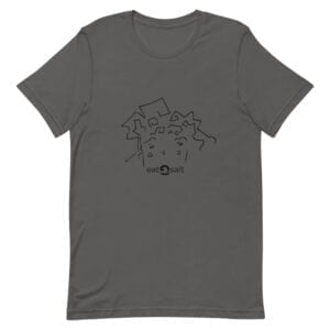 eatsalt surf hair line design on short-sleeved tee - grey flat