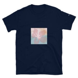 pink flower on dark blue t-shirt by eatsalt.com