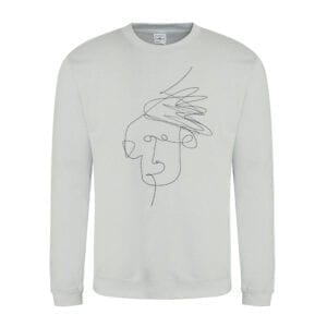 Heather Grey Mim Beck Line Drawing Design Sweatshirt by Eatsalt