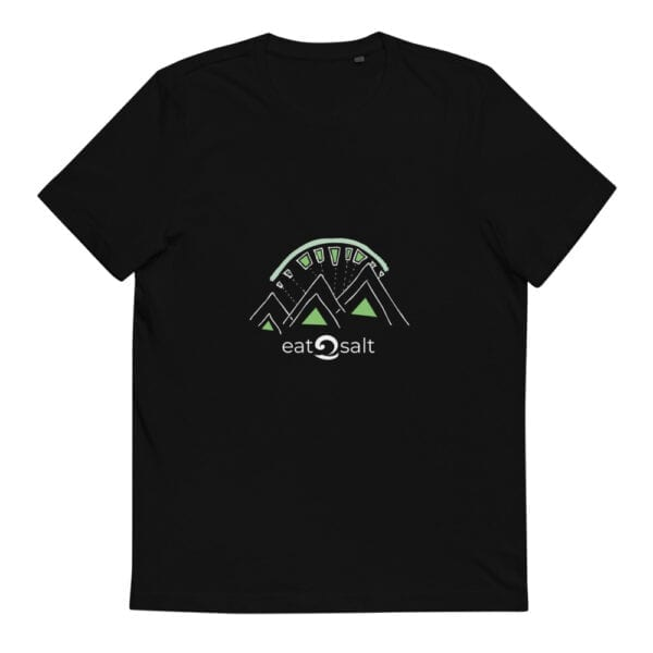 black t-shirt with lime and white mountain eat salt design