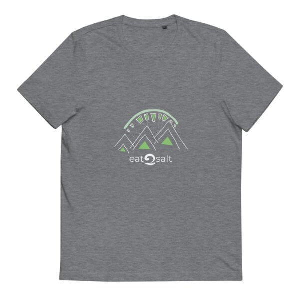 grey t-shirt with lime and white mountain eat salt design