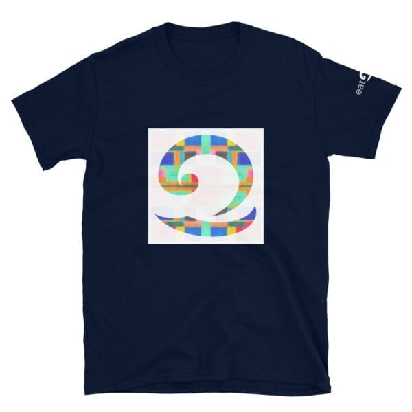 colourful wave logo on navy blue t-shirt