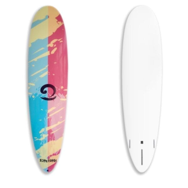 """7'6"""" mini mal surfboard with white bottom"""