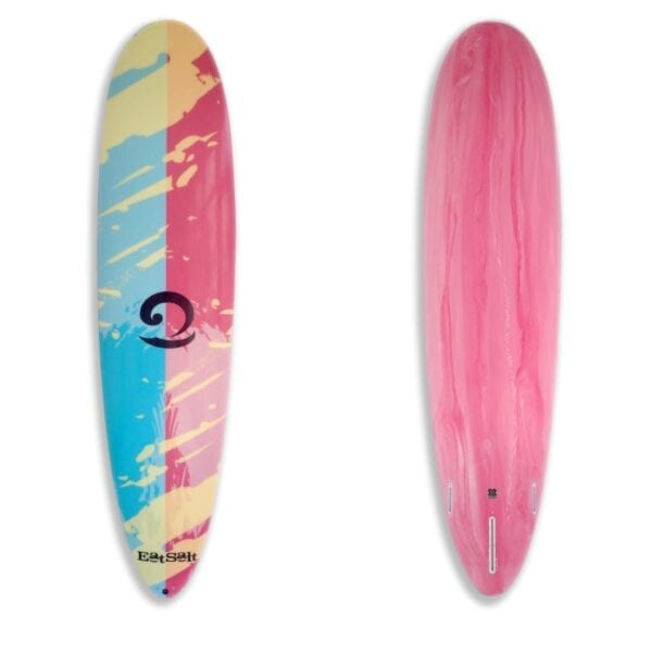 """7'6"""" mini mal surfboard with pink marble tint bottom"""