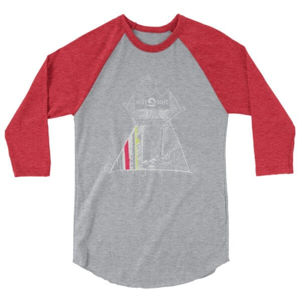Queen of the surf line design 3/4 tee by Mim Beck - red sleeves