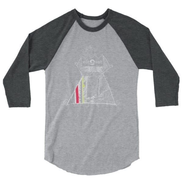 Queen of the surf line design 3/4 tee by Mim Beck - grey