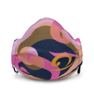 Pink, blue and orange face mask with wave design - front