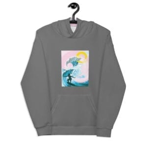 grey hoodie for the beach with blue/pink image - front