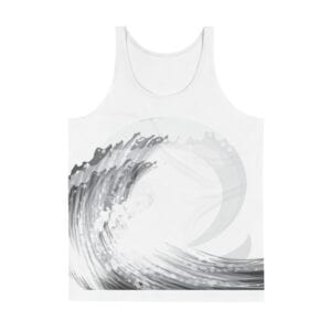 summer/beach white tank vest - grey wave front design