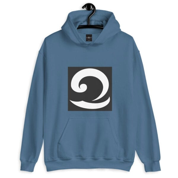 Classic Blue Hoodie with Eatsalt Wave in Black and White
