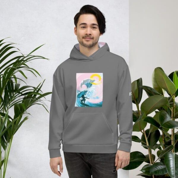 Men's grey surfing beach hoodie by Eatsalt Surfwear