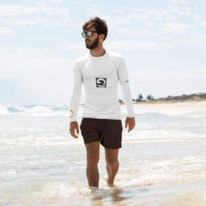 Men's white surfing rash vest by Eatsalt Surfwear
