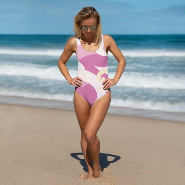 Pink and white Eatsalt one-piece swimsuit (front)
