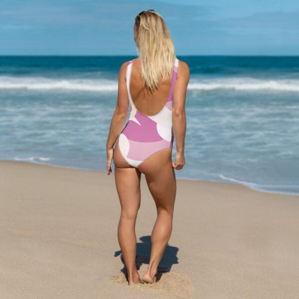 Pink and white Eatsalt one-piece swimsuit (back)