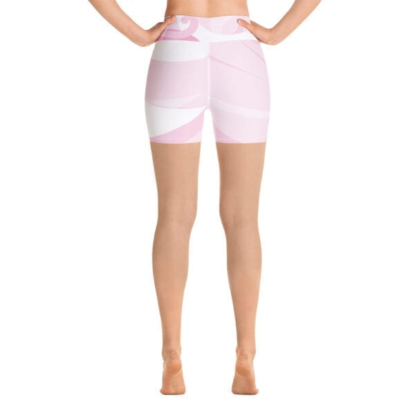 Pink and white yoga shorts