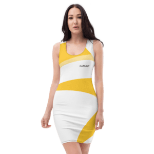 Eatsalt white fitted dress with orange swirl design - front