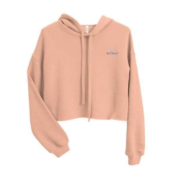 Women's Crop Hoodie by Eatsalt - peachy pink design