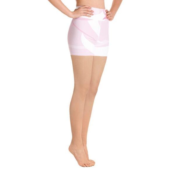 Pink and white yoga shorts by Eatsalt