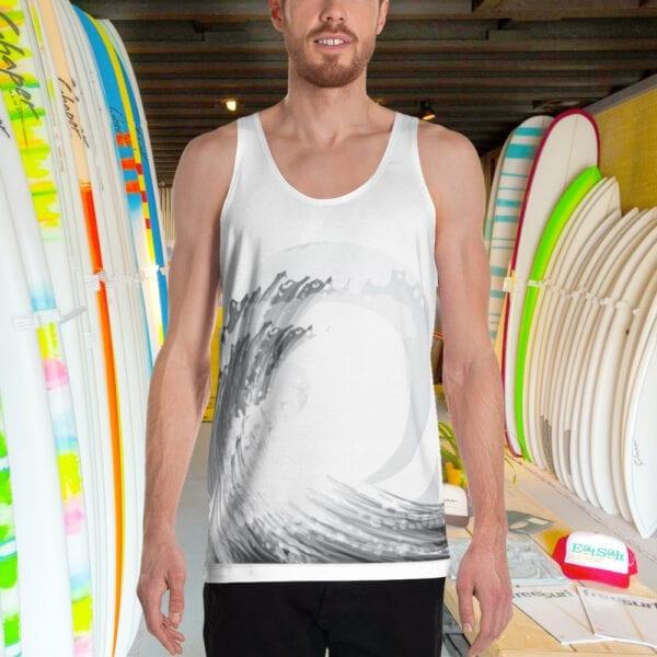 Men's Tank Vest with Surfing Wave Design