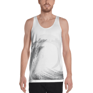 Eatsalt white tank vest (front grey wave design)