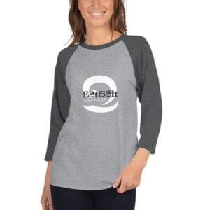 Charcoal and grey raglan 3/4 sleeve women's t-shirt