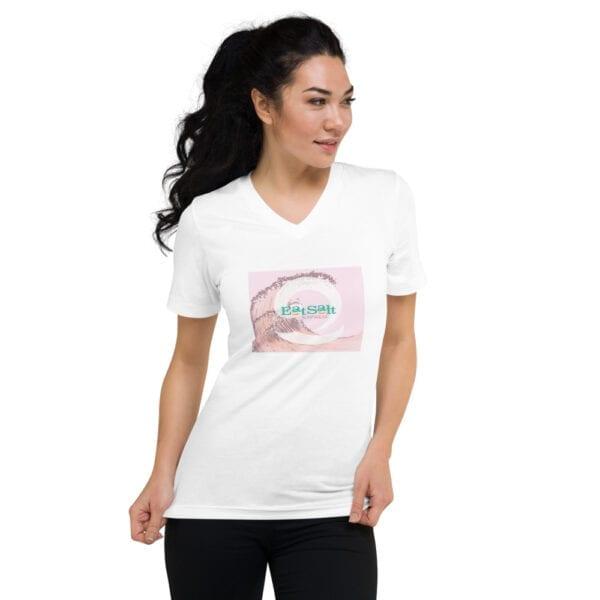 White v-neck t-shirt for women by Eatsalt Surfwear - front