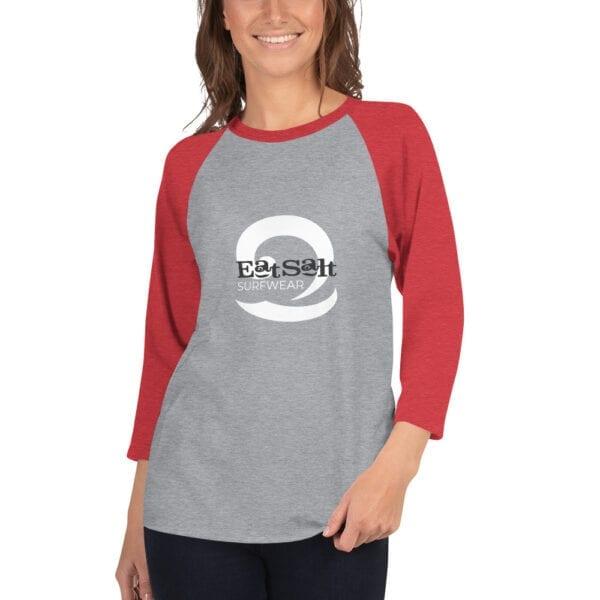 Red and grey raglan 3/4 sleeve women's t-shirt