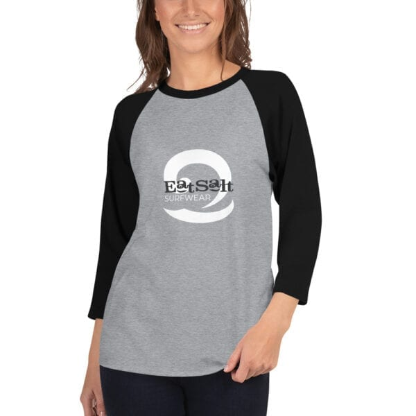 Black and grey raglan 3/4 sleeve women's t-shirt