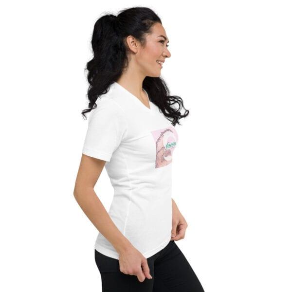 White v-neck t-shirt for women by Eatsalt Surfwear - side