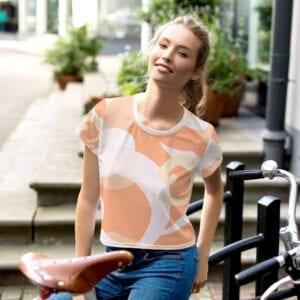 All-over light orange wave print crop t-shirt by Eatsalt