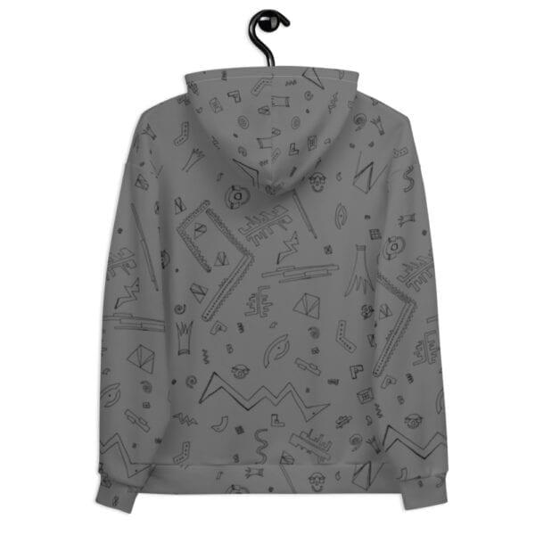 grey patterned hoodie