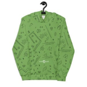 light green patterned hoodie - front
