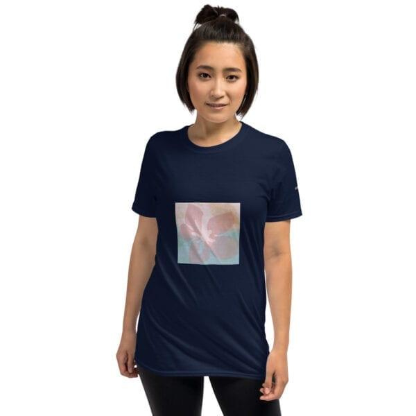 pink flower on dark blue t-shirt