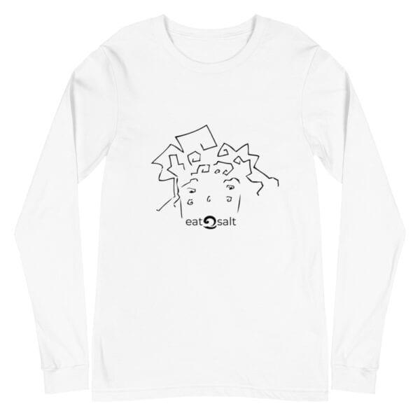 eatsalt surf hair line design on long sleeve tee - white
