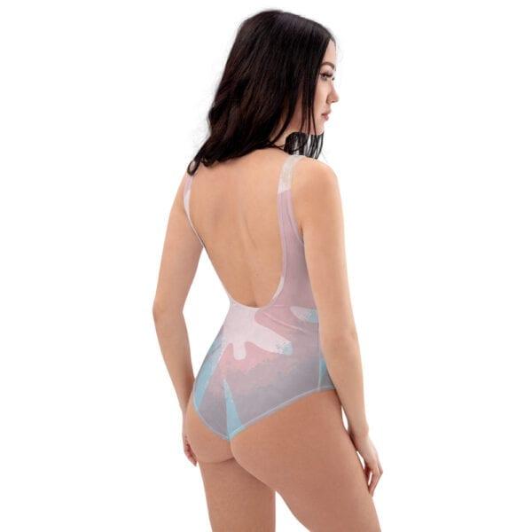 wave splash pink swimsuit - back