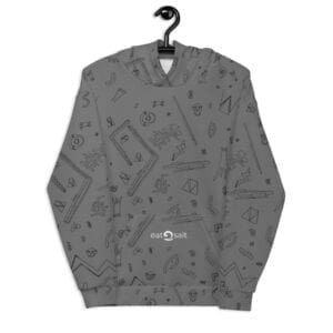 grey patterned hoodie - back
