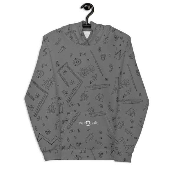 grey patterned hoodie - back