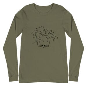 eatsalt surf hair line design on long sleeve tee - military green