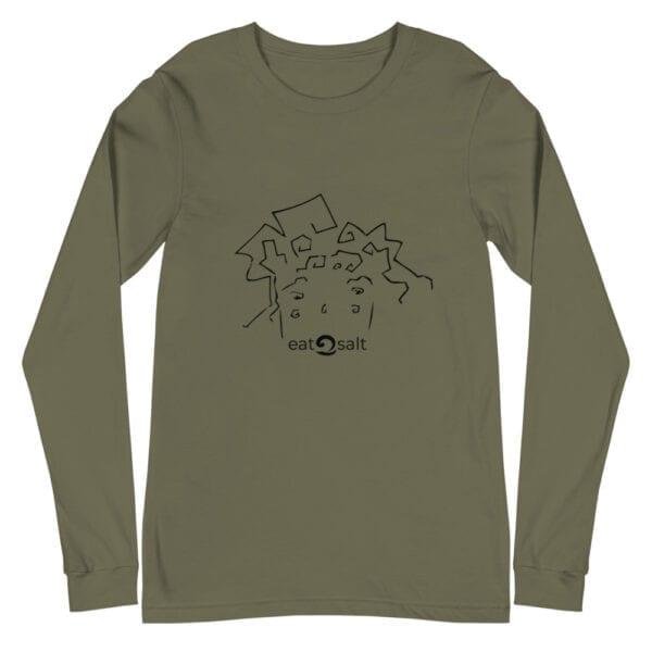 eatsalt surf hair line design on long sleeve tee - military green