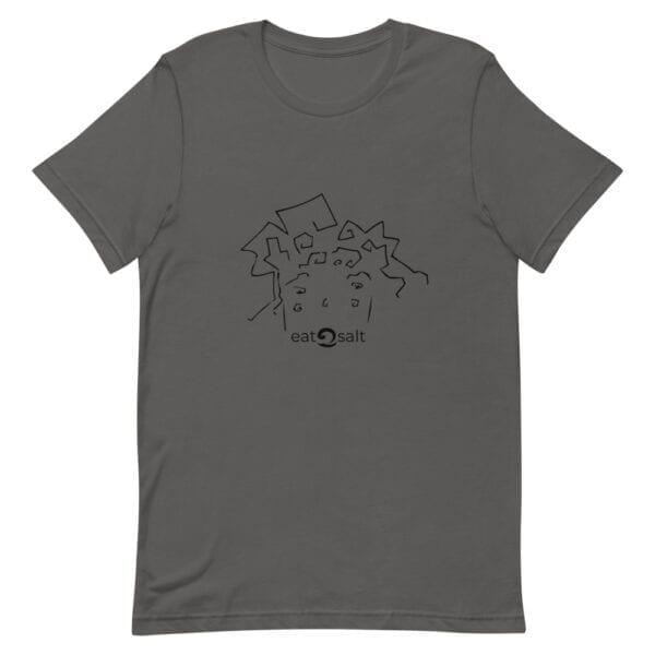 eatsalt surf hair line design on short-sleeved tee - grey flat
