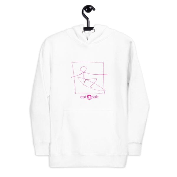 white hoodie with pink surfer line drawing by eatsalt