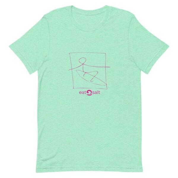 pink surfer line design on t-shirt - mint green