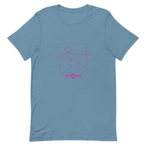 pink surfer line design on t-shirt - sea blue