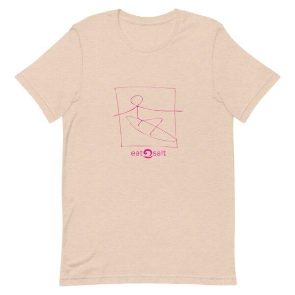 pink surfer line design on t-shirt - light peach
