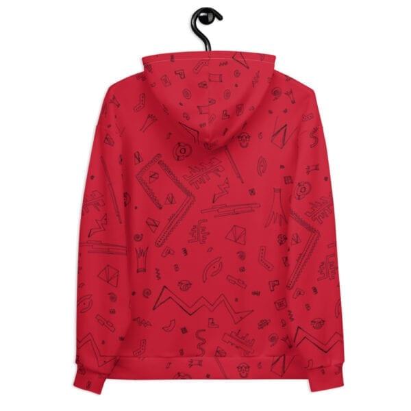 red patterned hoodie
