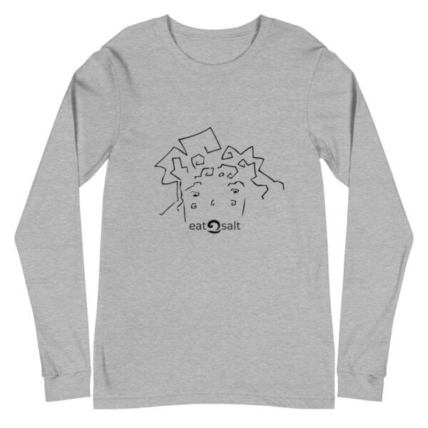 eatsalt surf hair line design on long sleeve tee - grey
