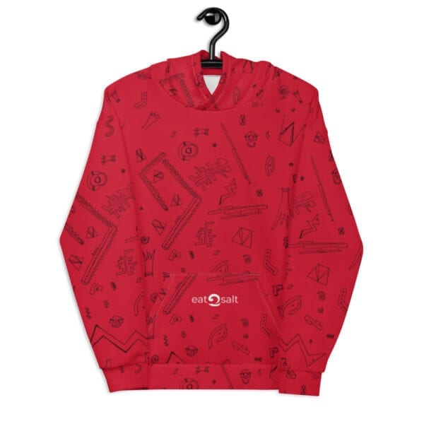 red patterned hoodie - front