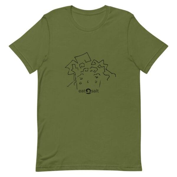 eatsalt surf hair line design on short-sleeved tee - military green